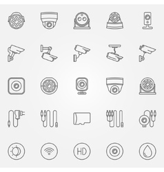 Home security cameras icons vector image