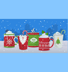 hot drinks winter christmas mugs background vector image