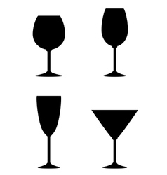 Isolated wine glass set vector