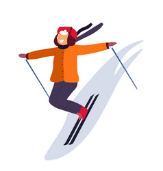 kid skiing down slope and winter holidays vector image