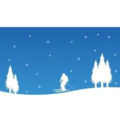 Landscape happy ski winter christmas vector