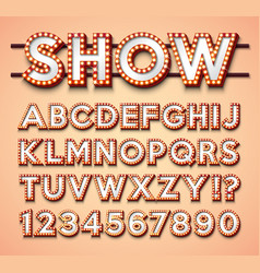 light bulb alphabet with bright red frame vector image