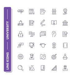 line icons set university vector image