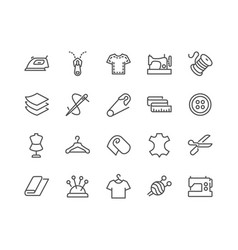 Line sewing icons vector