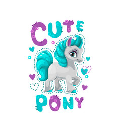 Little pretty pony girl vector