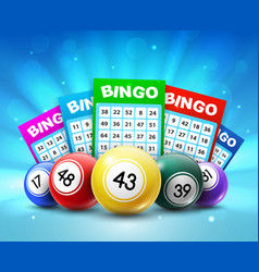 Lottery balls and tickets 3d bingo lotto vector