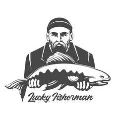 Lucky fisherman emblem vector