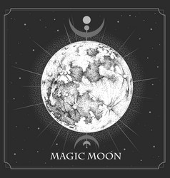 Magic witchcraft card with astrology full moon vector