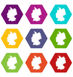 map of germany icon set color hexahedron vector image