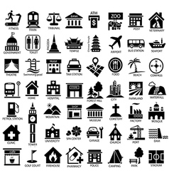 map symbol icon set black vector image