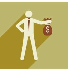 Modern flat icon with shadow man with bag of money vector
