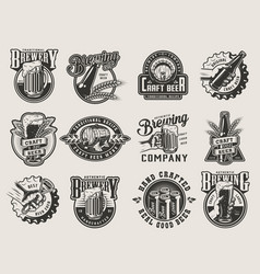 monochrome vintage brewing badges vector image