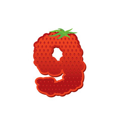 Number 9 strawberry font red berry lettering nine vector