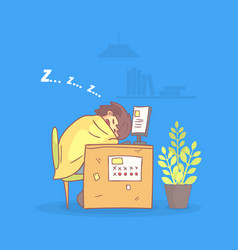 office worker sleeping at his workplace during vector image
