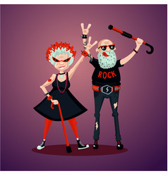 Old friedns senior adult couple rock fans humor vector