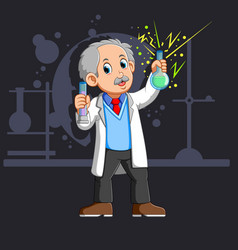 Old scientist with a flask vector