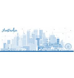 Outline australia city skyline with blue buildings vector