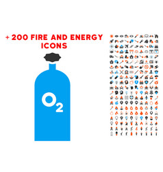 Oxygen gas cylinder icon with bonus energy set vector