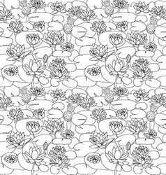 Pattern with Beautiful hand drawn lotus flowers a vector