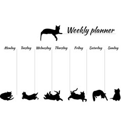 planner for a week with drawings of cats blank vector image