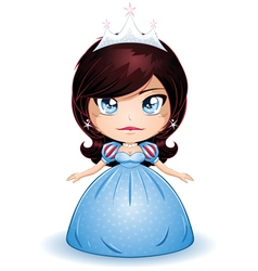 Princess With Black Hair In Blue Dress vector image