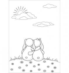 rabbits enamoured under clouds contours vector image
