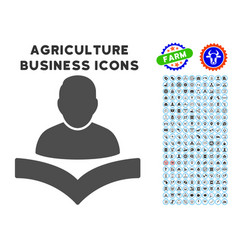 Reader boy icon with agriculture set vector
