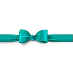 realistic green bow with horizontal ribbon vector image