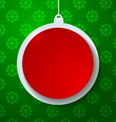 Red Paper Christmas Ball on Green Snowflakes vector image