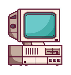 Retro computer from 90s vector