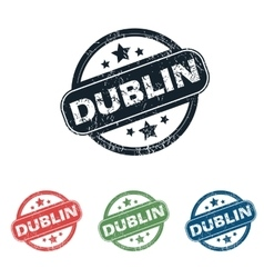 Round Dublin city stamp set vector