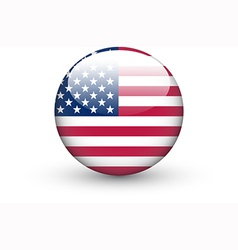 Round icon with national flag of the USA vector image