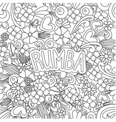 Rumba zen tangle doodle background with flowers vector