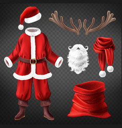 santa claus costume with accessories vector image