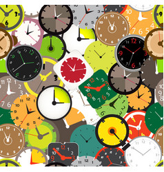 seamless pattern different clocks vector image
