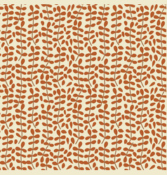 seamless pattern with brown leaf tropical pattern vector image