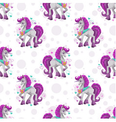 seamless pattern with cute cartoon pretty fantasy vector image