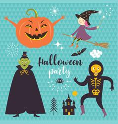 Set halloween design elements vector
