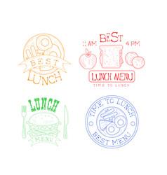 set hand drawn emblems for cafe or vector image