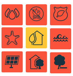 Set of 9 eco-friendly icons includes sun power vector