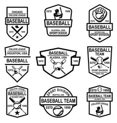 set of baseball emblems design element for logo vector image