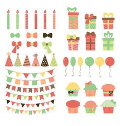 Set of birthday party design elements Colorful vector image