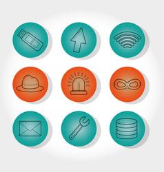 Set of cyber security symbols vector