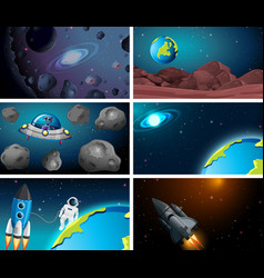 Set space backgrounds vector