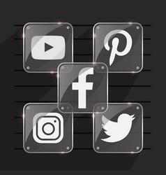 Shinny social media icons vector