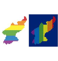 spectrum pixel dotted north korea map vector image