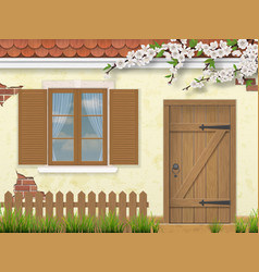 spring old facade window wooden door vector image vector image
