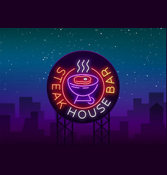 Steak house logo neon sign symbol bright vector