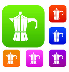 Steel retro coffee pot set collection vector