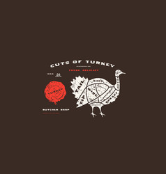 stock turkey cuts diagram in flat style vector image